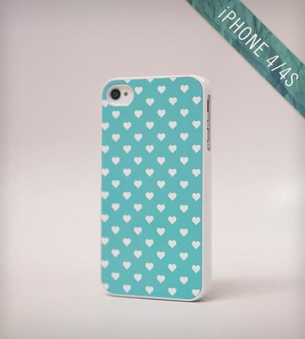 Polka Hearts iPhone Case By Blissful Case for the iPhone 4 or 4S. Turquoise/aqua backdrop with polka dot hearts!