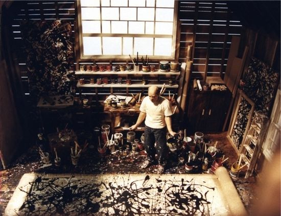 Jackson Pollock, painter. | 40 Inspiring Workspaces Of The Famously Creative