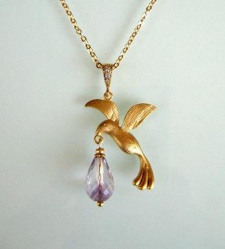 Bird necklace with amethyst, handmade jewelry, italian jewelry, spring jewelry,