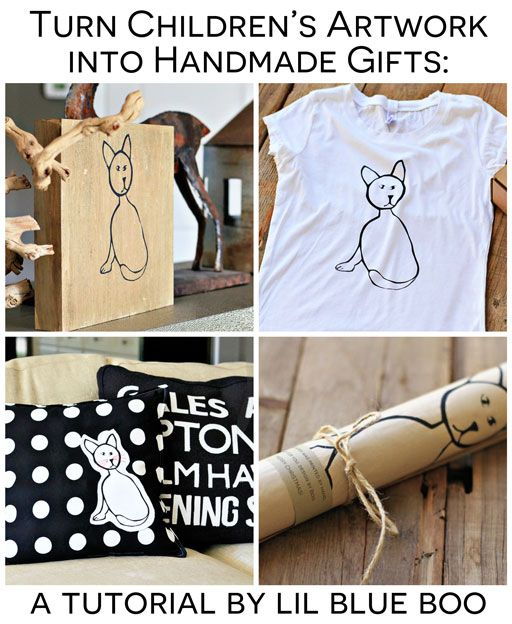 Handmade Holiday Gift Ideas: Turn Children's Artwork into meaningful handmade gifts with these ideas via lilblueboo.com #gifts #christmas #diy #tutoria...