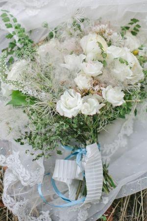 fresh picked wedding bouquet // photo by CarolineJoyPhotog...
