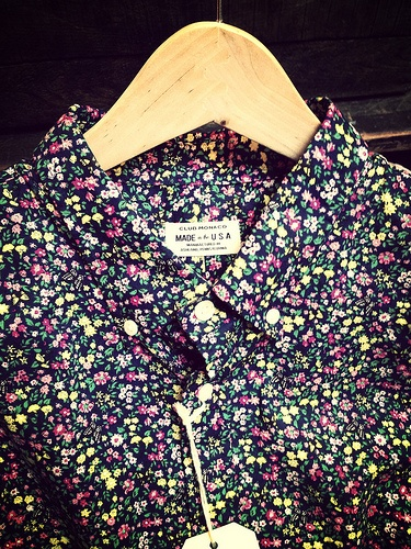 Club Monaco, floral Made in the USA button up.