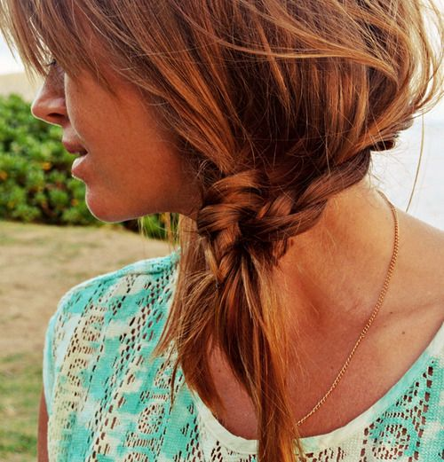 knotted side braid pony