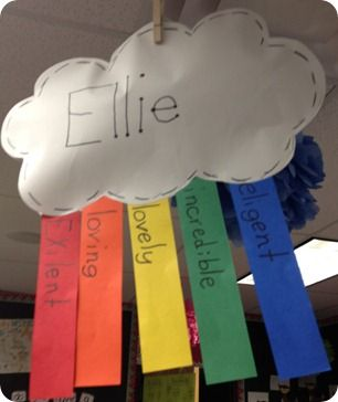 Acrostic poem in rainbow form- cute! Would be nice to have hanging for Open Hous
