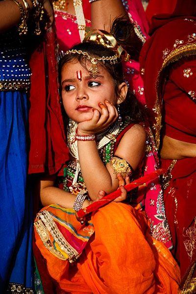 Kid dressed as Lord Krishna..