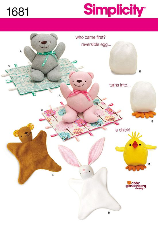 Simplicity Patterns S1681 Bear, Blanket, Animal Blanket, Chick Toy