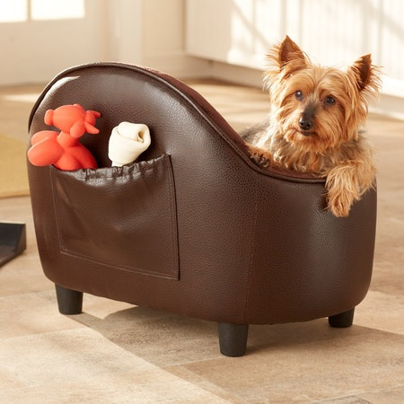 Pet Bed with toy storage pocket in brown pebble color. Elevated for draft free sleep.