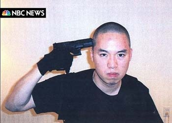 "Seung-Hui Cho, 23, South Korean native; Virginia Tech on April 16, 2007; series of poses he apparently got from the film ""Oldboy"", according to www.thesun.co.uk/... ........photo caption from source: An image that NBC News say they received from Cho Seung-Hui, the shooter in the Virginia Tech shootings, is seen posted on MSNBC.COM, April 18, 2007."