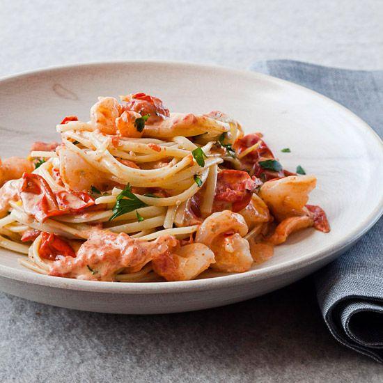 Linguine with Shrimp and Creamy Roasted Tomatoes // More Great Pastas: www.foodandwine.c... #foodandwine