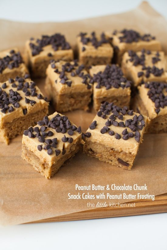 Peanut Butter & Chocolate Chunk Snack Cakes with Peanut Butter Frosting