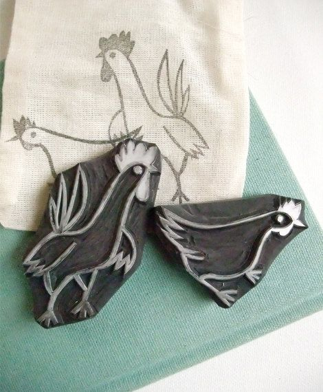 HEN hand carved rubber stamp set by talktothesun