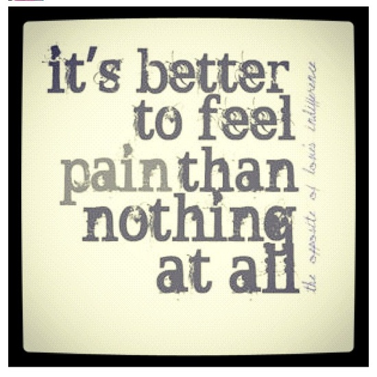 """""""...it's better to feel pain than nothing at all"""" - Stubborn Love"""
