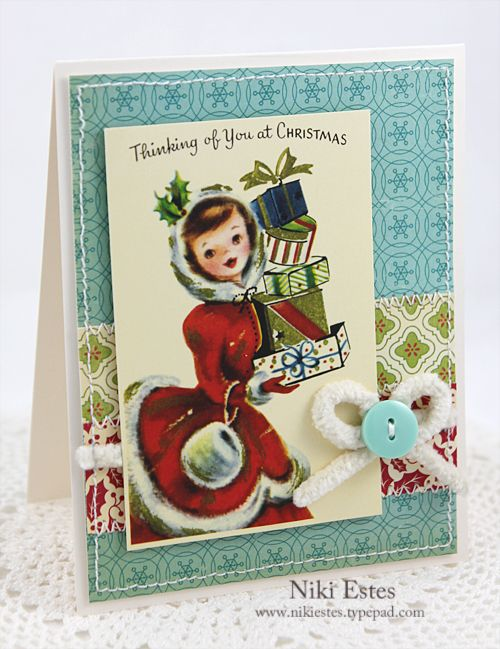 So sweetly vintage! #vintage #Christmas #card #handmade #card_making #paper_crafts #scrapbooking