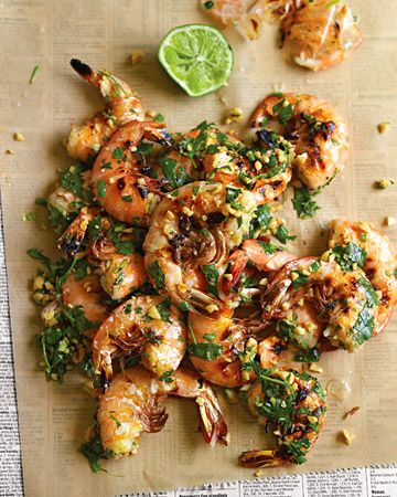 Grilled shrimp with cilantro, lime, and peanuts