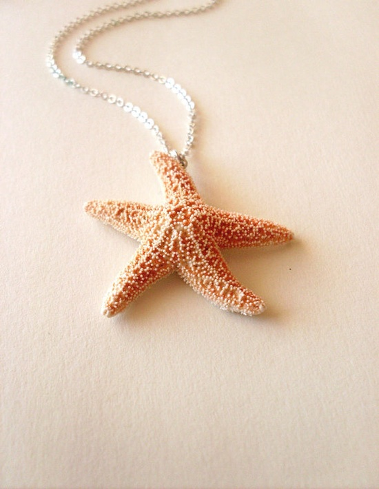 Ondine II - Natural Sugar Starfish Necklace - Cute - Adorable - Elegant - Romantic - Whimsical - Dreamy Sea Star - Mermaid Collection $25.00