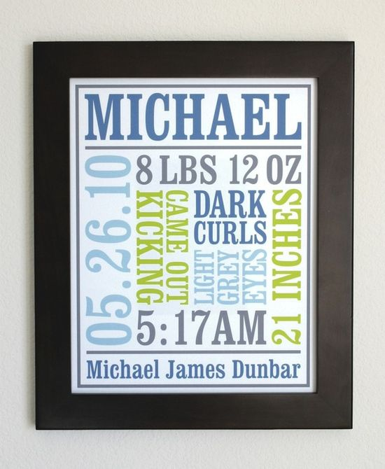 Custom Baby Birth Poster.  Cute gift idea, or I could do it for the girls!