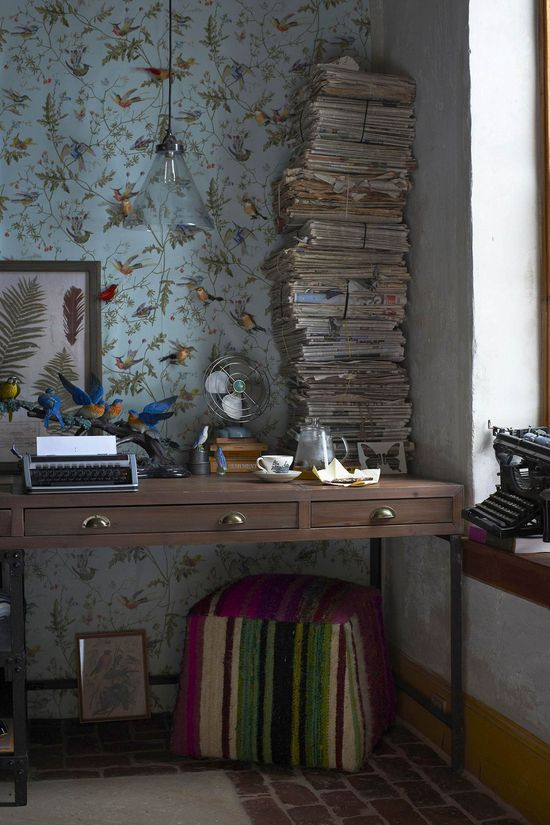 Anthropologie home decor - desk, wallpaper