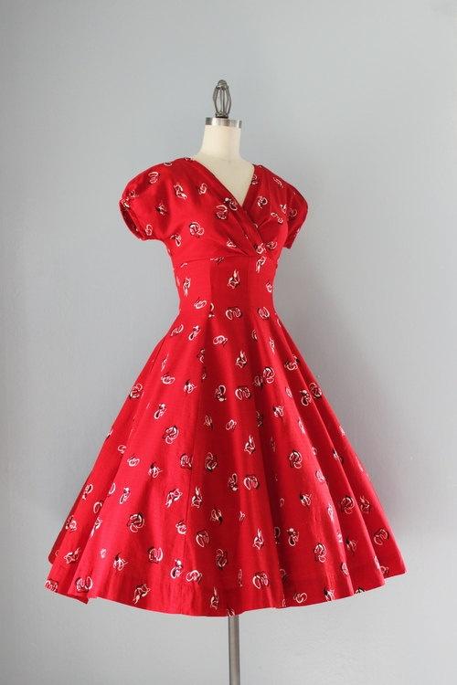 1950's Red Print Dress