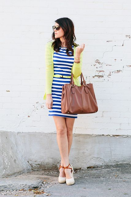 Blue striped dress, bright cardigan with matching belt (I could do pink cardigan), brown accessories.