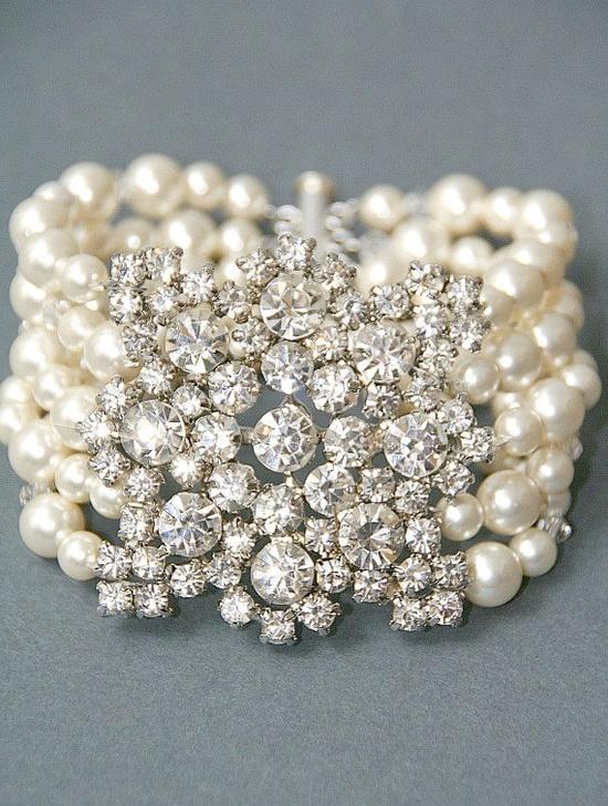 Vintage Crystal/Pearl Bracelet--stunning!
