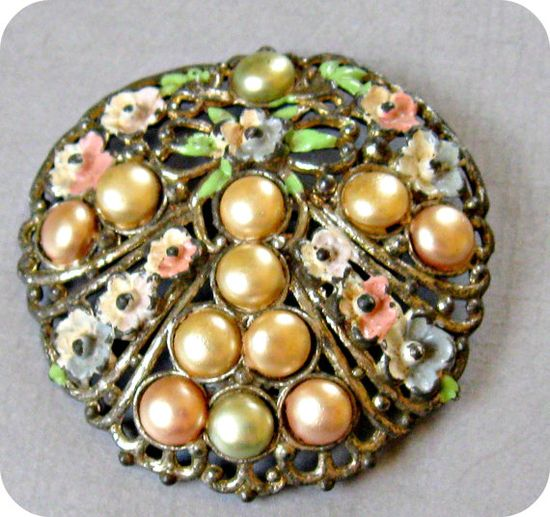 Round Floral Pot Metal Brooch Faux Pearls Enamel by vintagepaige, $34.00