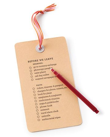 Travel to do list for your luggage.
