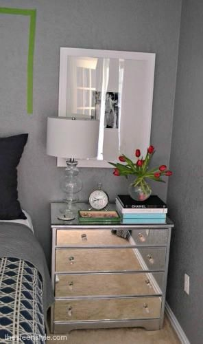 DIY Furniture  : DIY Mirrored Nightstand