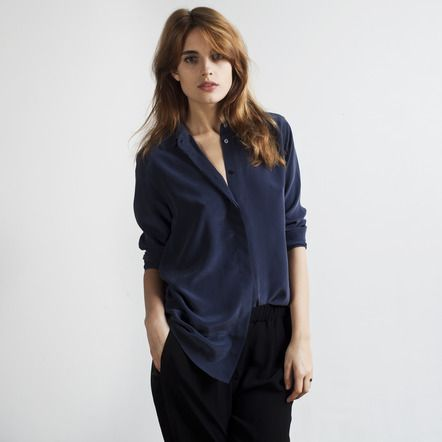 The Silk Blouse Navy Main Image