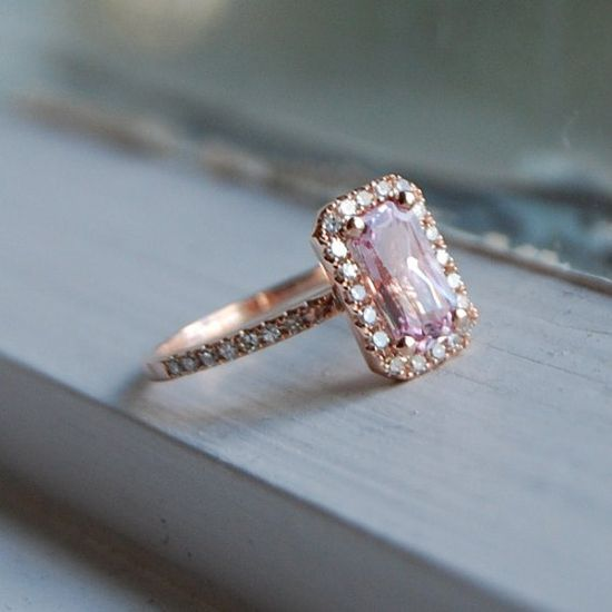 1.27ct Cushion peach lavender champagne sapphire in 14k rose gold diamond ring...minus the rose gold = love