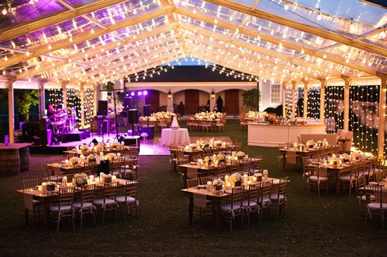 clear top tent with string lights