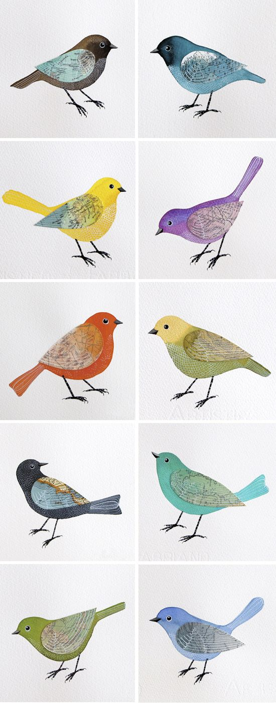 Birds done in watercolor and acrylic, with collaged-on wings from maps and manuscripts -- i love these!