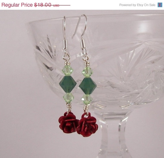 Holiday SALE Red Rose and Green Swarovski Crystal by ilovemy1984, $12.60