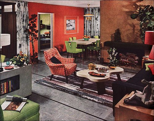 1952 Armstrong Living - Dining Room by American Vintage Home, via Flickr - love the coffee table!