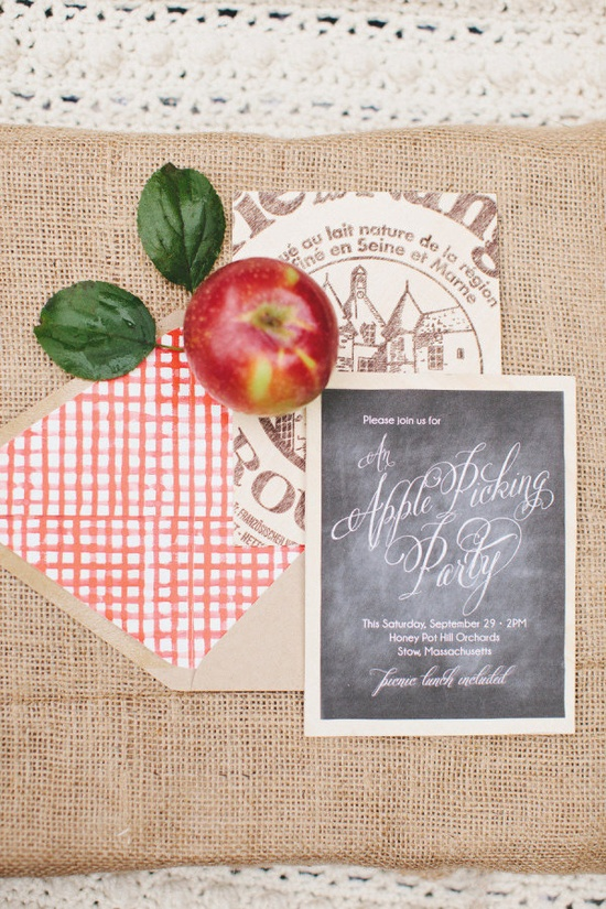 Invitations for a Fall favorite: Apple Picking. Download the watercolor gingham print here: www.stylemepretty...  Photography by rebeccahansenwedd...