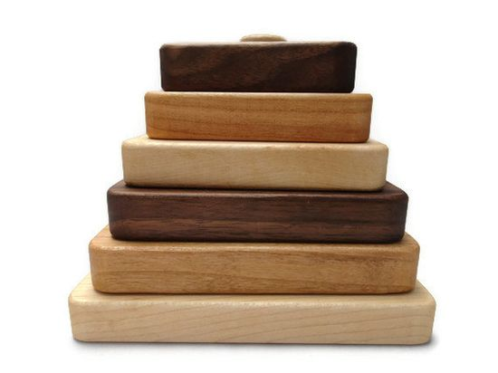 Wood Stacker Toy Organic Wooden Toddler Childrens by BannorToys, $30.00