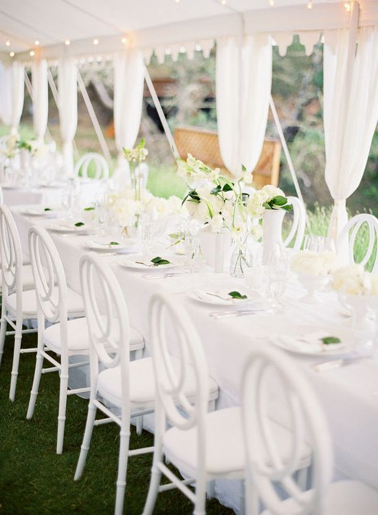 White chairs long table