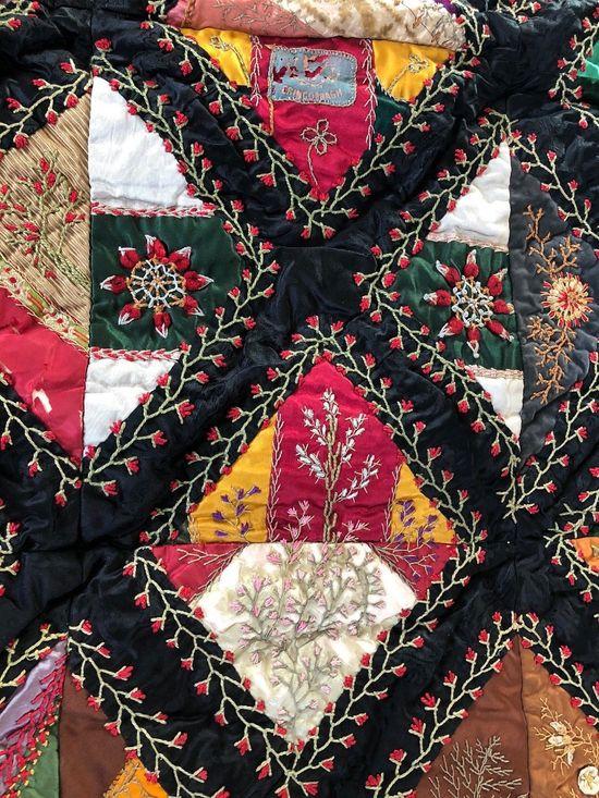 "Antique Victorian CRAZY QUILT Silk Satin Velvet Embroidery 61 x 53"" circa 1880s | eBay"