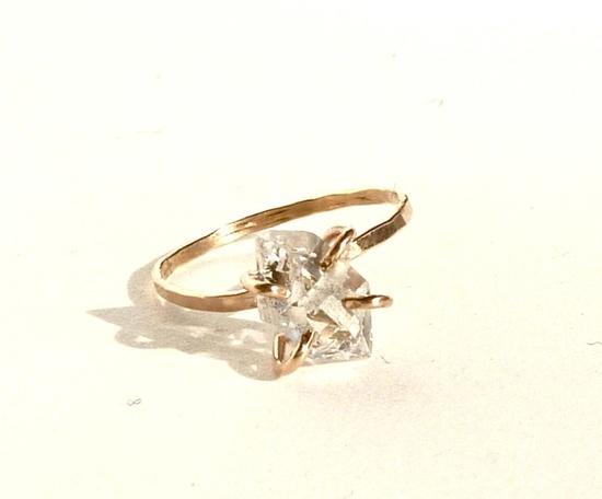 Herkimer Diamond Claw Ring. $175.00, via Etsy.