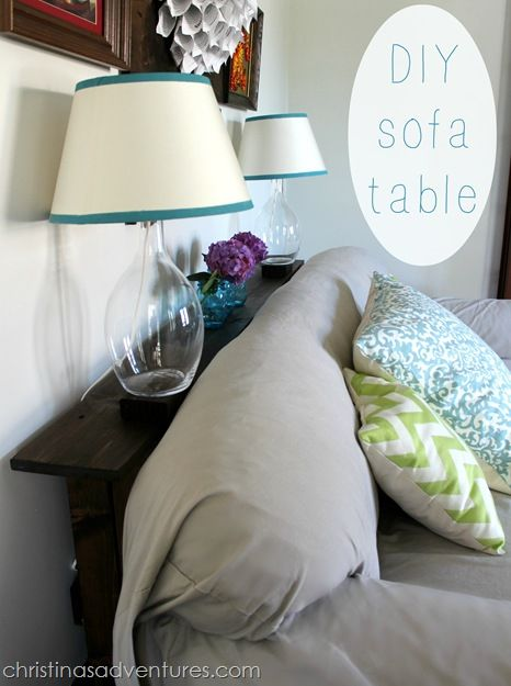 DIY Sofa Table ...great idea to put up decor behind the couch!