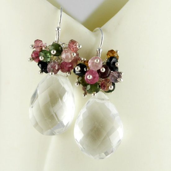 Cluster Earrings Tourmaline Rondelles AAA by anatoliantaledesign, $54.00