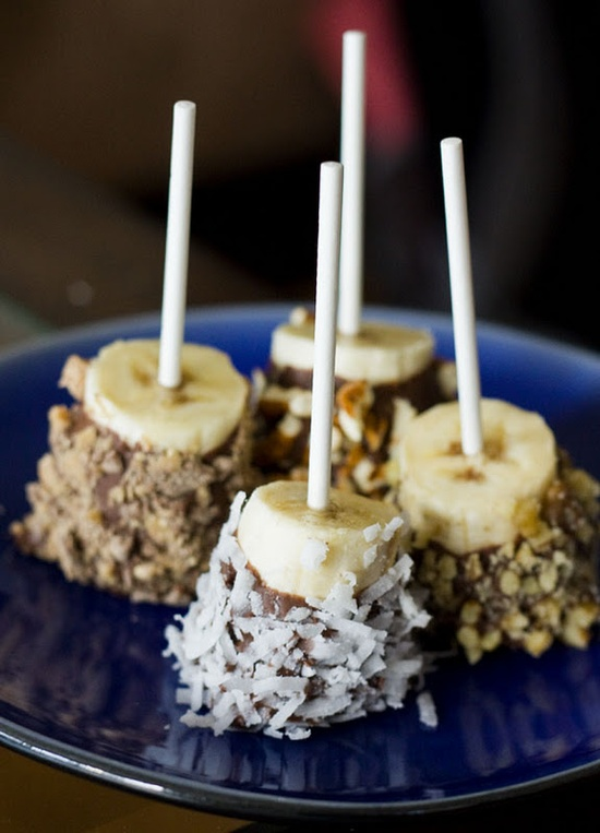 Frozen bananas dressed up with Nutella and fun toppings