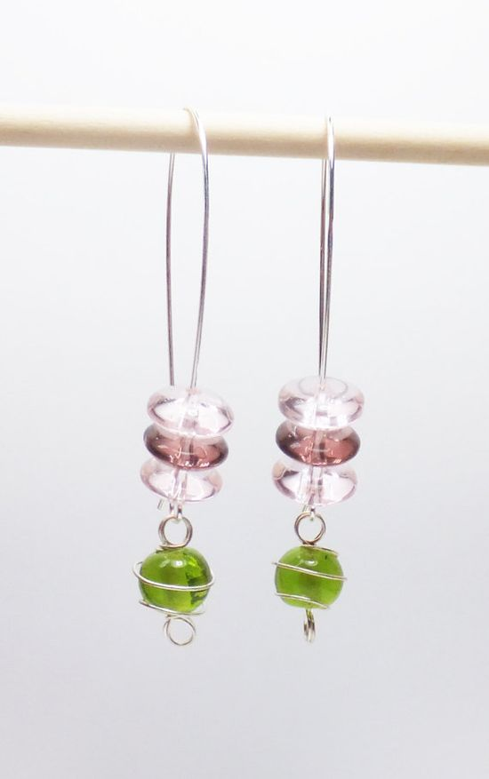 Peridot Green Glass with Pink and Plum Glass on Long by tzteja, $12.00  #jewelry, #earrings, #beaded, #designsbytamiza, #handmade, #ooak, #glass, #peridot, #green, #pink, #plum