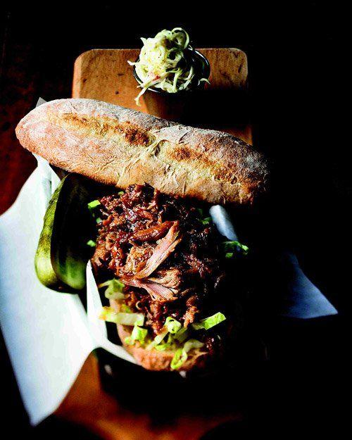Barbecued Pork Sandwich by marthastewart: Savory and succulent! #Sandwich #Pork #BBQ