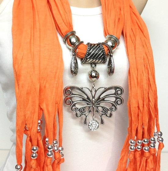 orange jewelry scarf