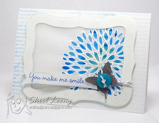 handmade card ... vellum technique: heat emboss in white and paint with watercolors on the back ... looks like stained glass ...