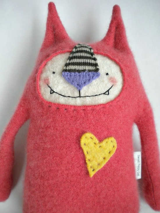 Cashmere Cat Stuffed Animal Coral Upcycled Repurposed Sweater. $30.00, via Etsy.