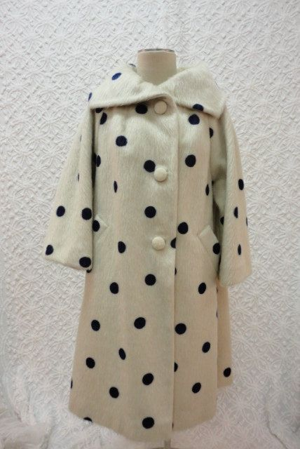 1950s Ivory with Blue Polka Dot Mohair