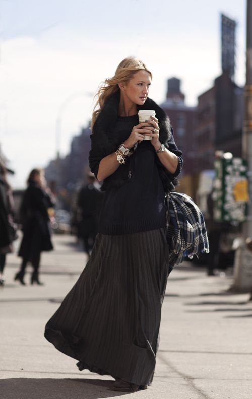 long pleated skirts.
