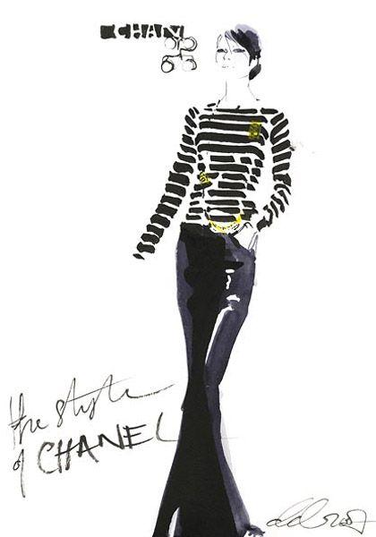 David Downton, fashion illustration, Chanel, black white stripes
