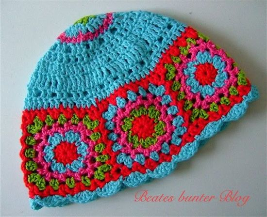 crafts for spring : colorful hat, crochet free pattern